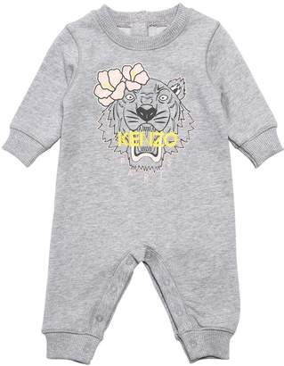 Kenzo Long Sleeve Tiger Print Cotton Romper