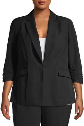 INC International Concepts Plus Three-Quarter Sleeve Blazer