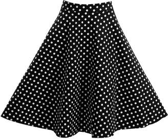 Filfeel Women's Dot Print A-Shaped High Waist Flare Skirt Black Pleated Skirt(S-)