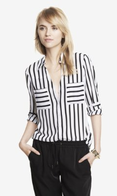 Express Striped Convertible Sleeve Portofino Shirt