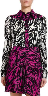 No.21 No. 21 Colorblock Zebra-Print Button-Down Top