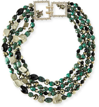 Alexis Bittar Chunky Beaded Statement Necklace, Green $895 thestylecure.com