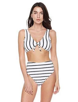 Bloom Muse Women's Striped Bikini Set Tie Knot Two Piece Swimsuit Crop Swimwear (S
