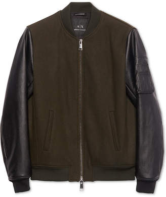 Armani Exchange Mens Wool Bomber Jacket with Faux Leather Sleeves