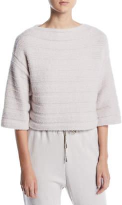 Gentry Portofino Elbow-Sleeve Boxy Cropped Cashmere-Blend Sweater