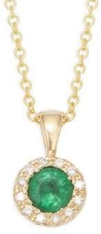 Effy 14K Yellow Gold, Emerald and Diamond Pendant Necklace
