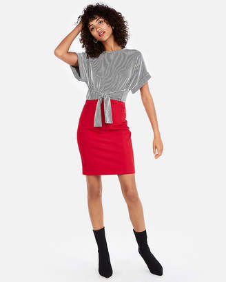 Express Petite High Waisted Pintuck Pencil Skirt