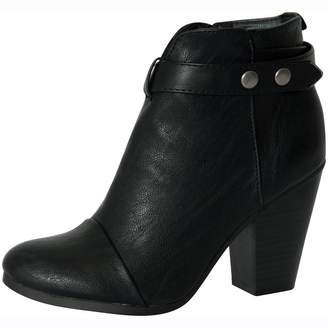 Breckelles Breckelle's GAIL-22 Women's Belted Chunky Stacked Heel Ankle Booties 7.5