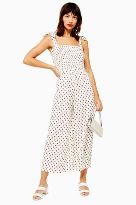 Topshop Womens Spot Shirred Jumpsuit - Cream