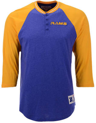 Mitchell & Ness Men Los Angeles Rams Four Button Henley T-Shirt