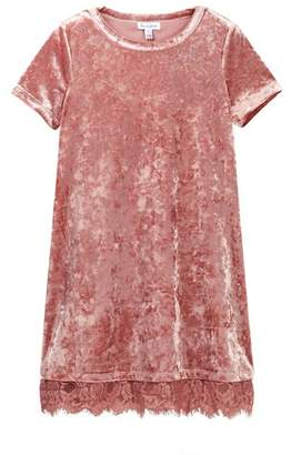 Love, Fire Velvet Dress with Lace Trim (Big Girls)