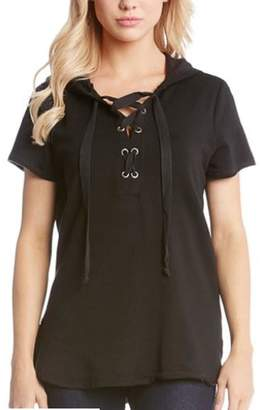 Karen Kane Shortslv Lace-Up Top