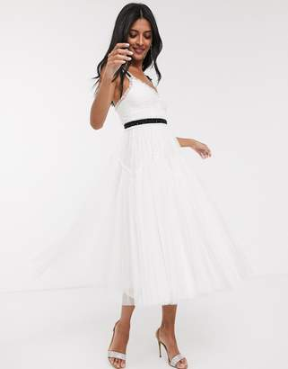 Needle & Thread Bridal bow detail midi dress with contrast waistband in ivory