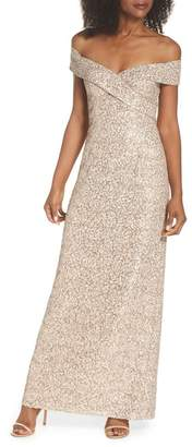 Vince Camuto Off the Shoulder Sequin & Lace Gown