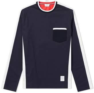 Thom Browne Long Sleeve Bi-Colour Tee