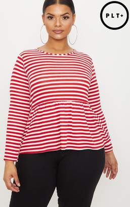 PrettyLittleThing Plus Red Striped Frill Hem T Shirt