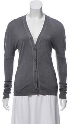 Saint Laurent Silk-Wool V-Neck Cardigan