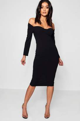 boohoo Formal Structured Stitching Bustie Midi Dress