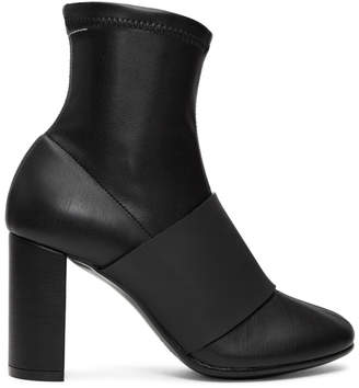 MM6 MAISON MARGIELA Black Cut Heel Banded Boots