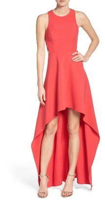 Women's Bcbgmaxazria 'Rosalyn' Cutout High/low Crepe Gown $338 thestylecure.com