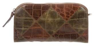Eric Javits Embossed Leather Patch Clutch