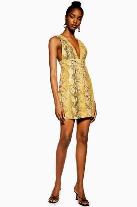 Topshop Womens Vinyl Snake Leather Pinafore Dress - Ochre