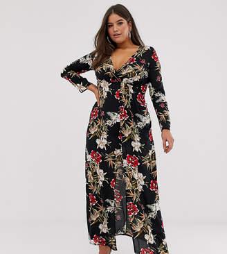Club L London Plus Plus wrap front floral maxi dress