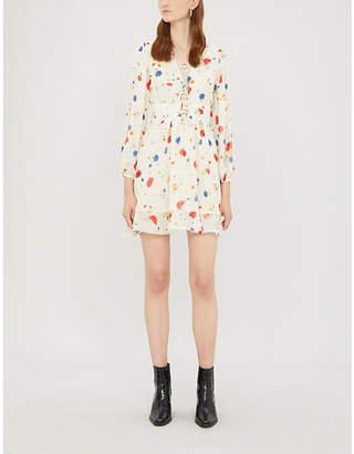 The Kooples Lace-up neck floral crepe dress