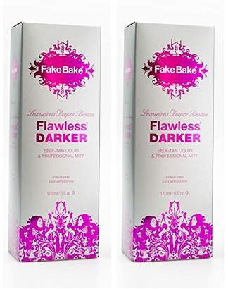 Fake Bake Self Tanning Liquid Flawless Darker by | Luxurious and Fast-Drying Solution that delivers the Beautiful Streak-Free Darkest Tan in the Range | Black Coconut Scent | 6 fl oz(pack of 2)