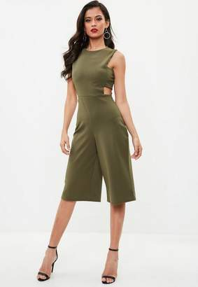 Missguided Khaki Side Tab Culotte Romper