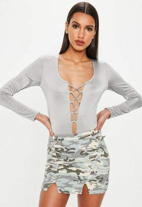 Missguided Silver Faux Suede Lace Up long Sleeve Bodysuit, Silver