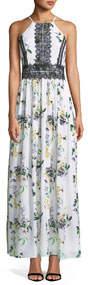 Lace-Trimmed Floral-Print Maxi Dress