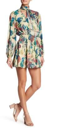 Haute Hippie Smocked Waist Floral Print Dress