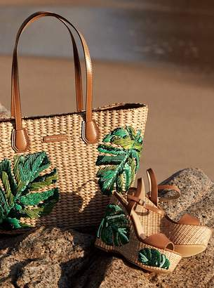 MICHAEL Michael Kors Malibu Palm Embroidered Woven Straw Tote