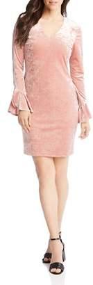 Karen Kane Velvet Ruffle Sleeve Dress