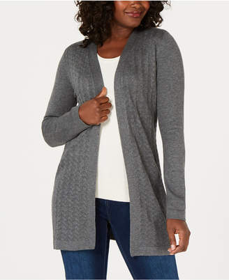 Karen Scott Petite Pointelle Duster Cardigan, Created for Macy's