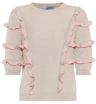 Valentino Ruffle-trimmed cotton sweater