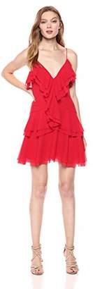 C/Meo Collective Women's Elude Ruffle Detail V Neck Sleeveless Mini Dress