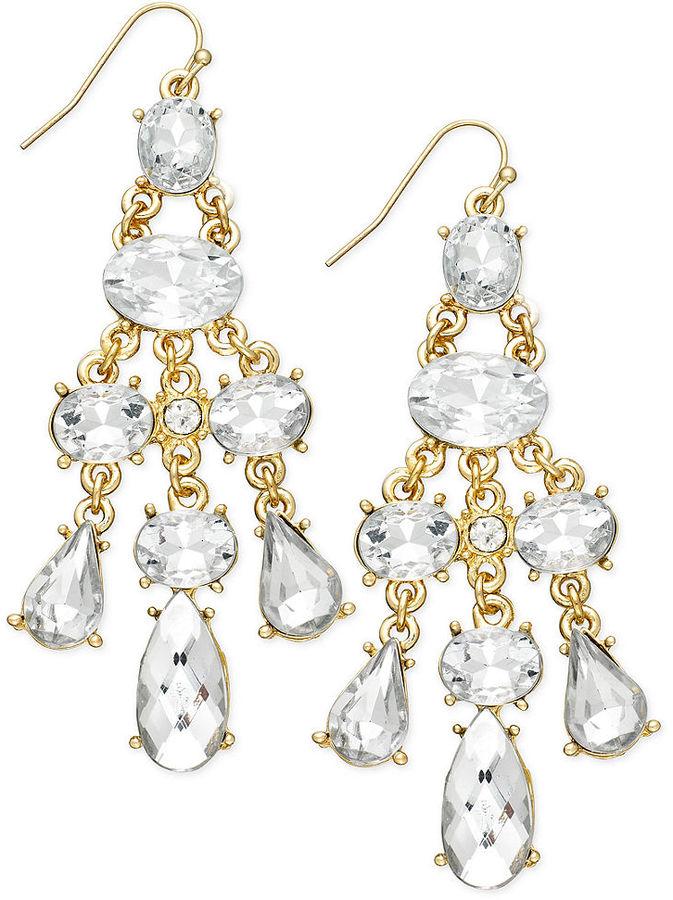 INC International Concepts Earrings, Gold-Tone Crystal Link Stone Chandelier Earrings
