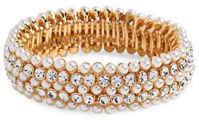 Cezanne Faux Pearl Crystal Stretch Bracelet