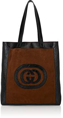 Gucci Men's Ophidia Large Logo Suede Tote Bag
