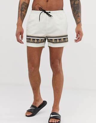 Good For Nothing co-ord swim shorts in white with baroque taping