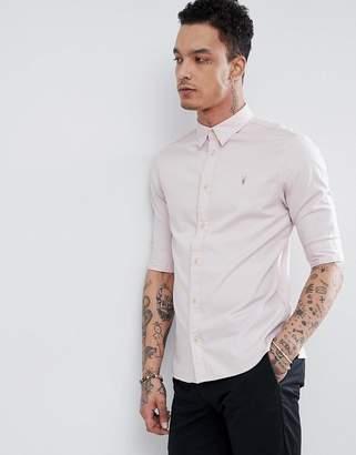 AllSaints Short Sleeve Poplin Shirt In Light Pink With Logo