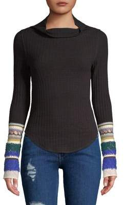 Free People Mixed-Cuff Rib-Knit Sweater