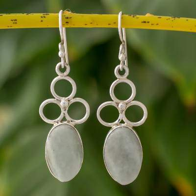 Light Green Jade and Silver Dangle Earrings from Guatemala, 'Light Moon Trio'