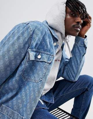 Wood Wood Denim Jacket With All Over Print