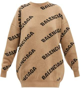 Balenciaga Logo Wool Blend Jacquard Sweater - Womens - Beige Multi