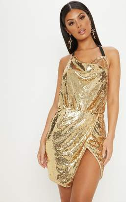 bff4b83d27 PrettyLittleThing Gold Sequin Cowl Neck Bodycon Dress
