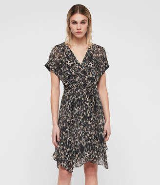 AllSaints Claria Leopard Dress