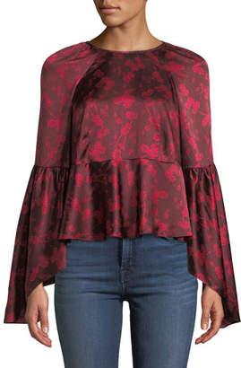 Cinq à Sept Floral Silk Bell-Sleeve Flounce Top